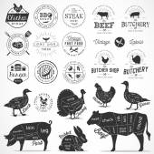 Butchery Shop Design Elements and Badges in Vintage Style