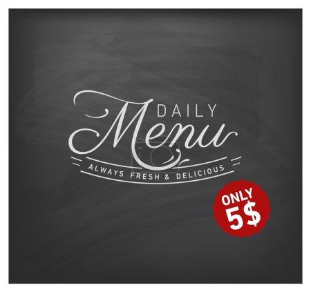 Restaurant Daily Menu Design Element in Vintage Style on Chalkboard
