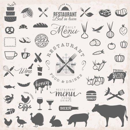 Illustration pour Badges et étiquettes de restaurant dans un style vintage. Éléments de conception de menu . - image libre de droit