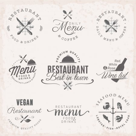 Restaurant Badges and Labels in Vintage Style. Menu Design Elements.