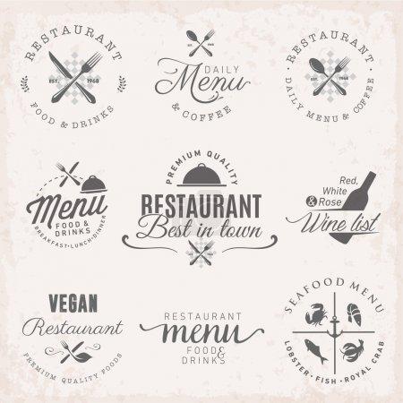 Restaurant Badges and Labels in Vintage Style. Menu Design Elements.