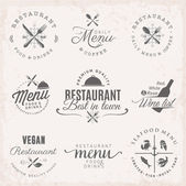 Restaurace odznaky a popisky v retro stylu. Nabídka grafických prvků