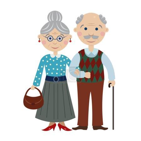 happy cartoon grandparents