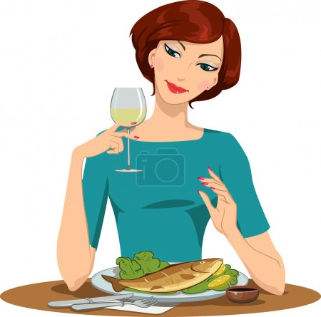 Girl eating fish and drinking wine