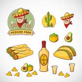 Mexican Food Vector Illustrations Set with Logo Template for Restaurant Menu Cafe Meal Delivery Smiling Man in Traditional Sombrero Tacos Burritos Tequila etc Bright Colors Isolated