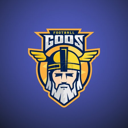 Football Gods Vector Sport Team or League Logo Template. Odin Face with Typography. Mighty Warrior Head in a Helmet Mascot.