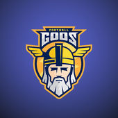 Football Gods Vector Sport Team or League Logo Template Odin Face with Typography Mighty Warrior Head in a Helmet Mascot