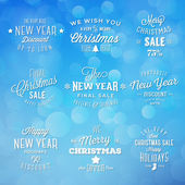Christmas and New Year Vintage Typography Holidays Sales Discounts Labels on Bokeh Background