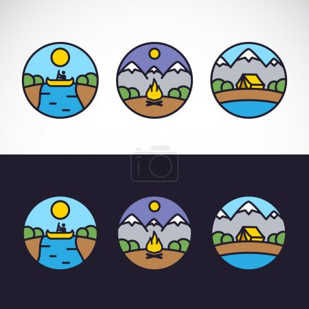Illustration for Outdoor Sports Landscape Nature Logo Template Set. Kayaking, Tourism, Tent, Mountains, Wood and River. - Royalty Free Image