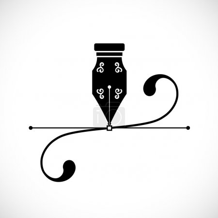 Ink Pen Anchor Point With Handles or Bezier Curve Concept Vector Icon