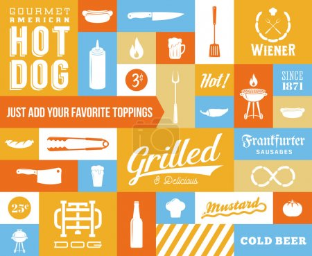 Hot Dog Vector Icon and Typography Set. Vintage, Retro Signs or Labels with Sausages, Knife, Beer, Grill, etc
