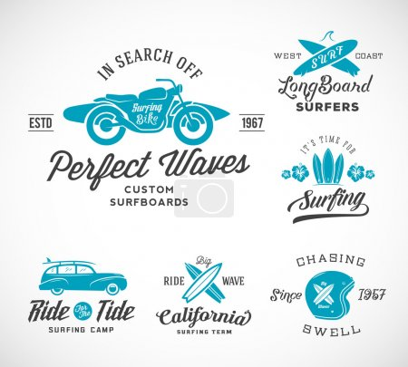 Vector Retro Style Surfing Labels, Logos or T-shirt Graphic Design Featuring Surfboards, Surf Woodie Car, Motorcycle Silhouette, Helmet and Flowers.