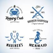 Set of Vintage Nautical Sea Labels with Retro Typography Good for Seafood Restaurant or Cafe Marina Sail Crew etc