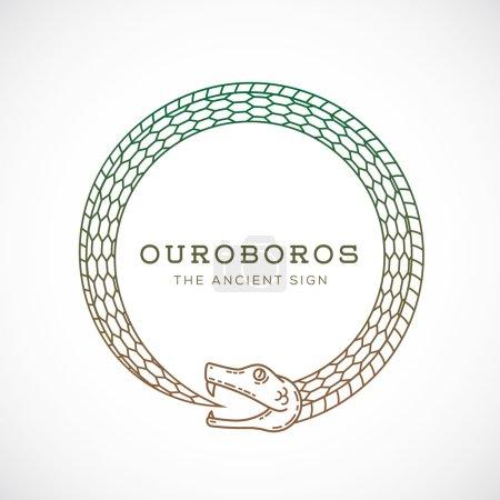 Illustration pour Symbole vectoriel abstrait de serpent d'Ouroboros, signe ou modèle de logo dans le style de ligne. Isolé - image libre de droit