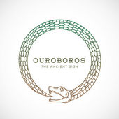 Abstract Vector Ouroboros Snake Symbol Sign or a Logo Template in Line Style Isolated