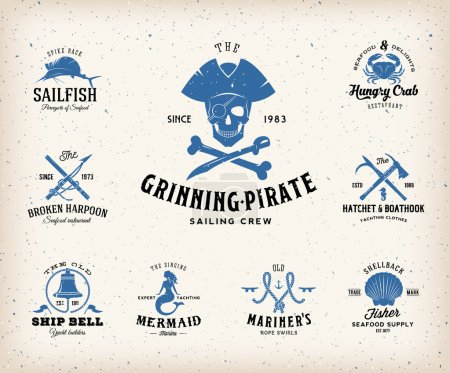 Vintage Nautical Labels or Design Elements With Retro Textures and Typography. Fits Perfect for a T-shirt Design, Posters, Flayers, Logos so on. Isolated Vector Illustration.