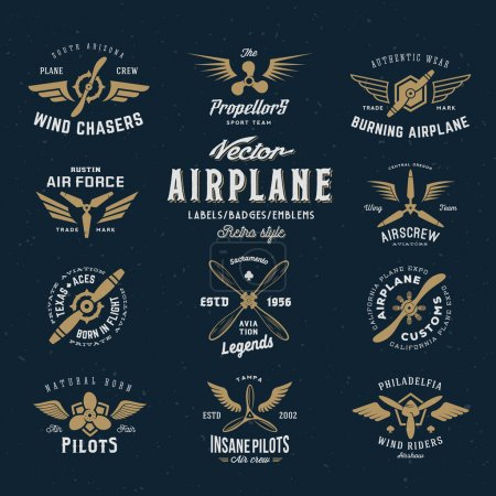 Vintage Vector Airplane Labels Set with Retro Typography. Shabby Texture on Blue Background