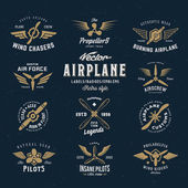 Vintage Vector Airplane Labels Set with Retro Typography Shabby Texture on Blue Background