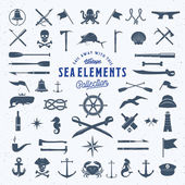 Vintage Vector Sea or Nautical Icon Symbol Elements Set for Your Retro Labels Badges and Logos Huge Template with Shabby Texture
