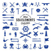Vintage Vector Sea or Nautical Icon Elements Set for Your Retro Labels Badges and Logos