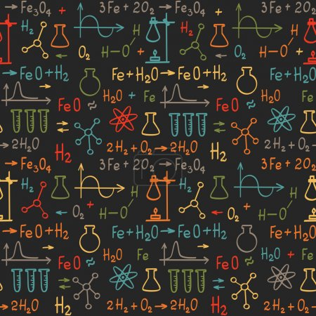 Hand draw chemistry seamless pattern