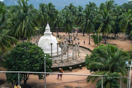 Top view of a Buddhist complex Ambasthala Dagoba, Sila Cetiya on Mihintale Sri Lanka