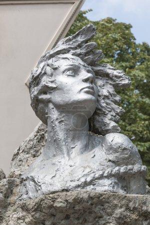 Fragment of a monument to Nina Poptsova in Pyatigorsk, Russia