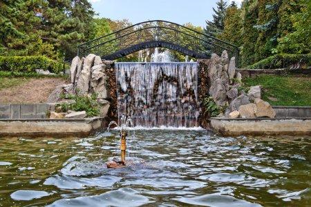 Fountain with a waterfall and bridge in Pyatigorsk, Russia