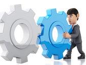 3D podnikatel tlačí červený gear