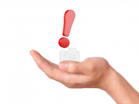 Hand hold red exclamation mark on white background