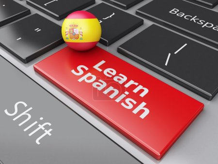 Photo for 3d renderer illustration.  Learn spanish on computer keyboard. Education concept - Royalty Free Image