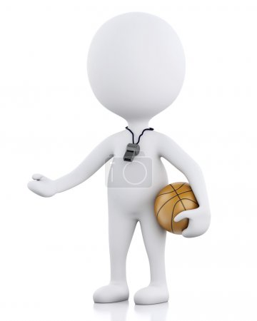 3d white basketball coach with ball.