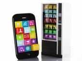3D Smartphone con le icone delle applicazioni. concetto di e-commerce
