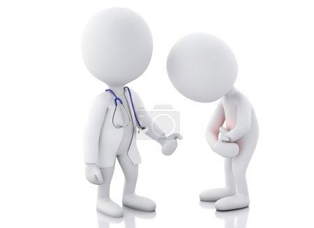 Photo pour 3d blancs médecin avec stéthoscope vérifier les personnes souffrant de maux d'estomac dans la zone rouge. Fond blanc isolé - image libre de droit
