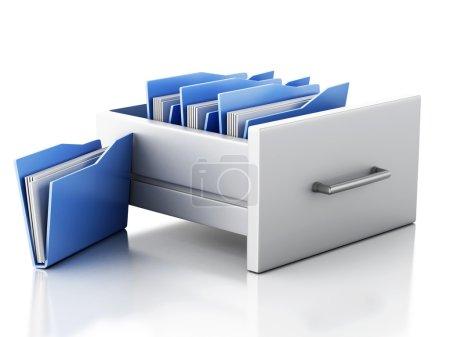 3d renderer image. File cabinet with folders. Sear...