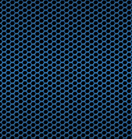 Illustration for Blue aluminum Technology background with black hexagon perforated carbon speaker grill texture vector illustration - Royalty Free Image