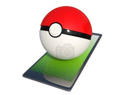 Photo pour Rendu 3D Pokeball sur un smartphone isolé sur fond blanc avec chemins de détourage. - image libre de droit