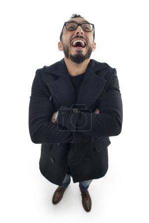 Photo pour Homme d'affaires drôle avec Expression fou isolé sur fond blanc - image libre de droit