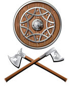 Battle shield and axes vector
