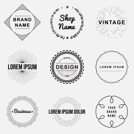 Illustration pour Ensemble d'insignes vintage rétro et graphismes du logo de l'étiquette. Éléments de conception, enseignes commerciales, étiquettes, logos, conception de cercle - image libre de droit