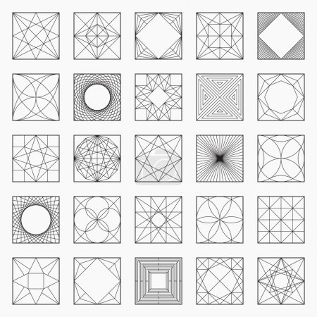 Set of geometric elements / icons, square pattern