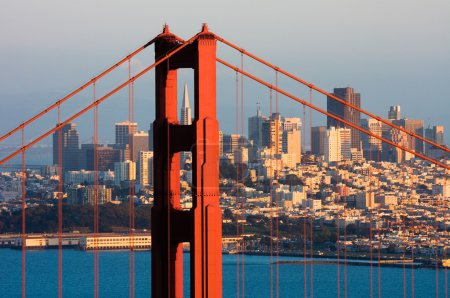 Golden Gate Bridge and downtown San Francisco at s...