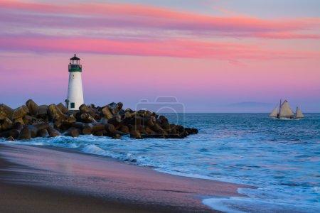 Photo for Walton Lighthouse in Santa Cruz, California at sunset - Royalty Free Image