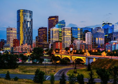 Photo for Buildings in Calgary Canada at night - Royalty Free Image