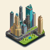 Isometric city 3d skyscrapers district Center buildings and park in the downtown Vector map design