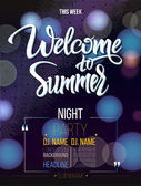 Welcome to summer signs on black background and light Poster banner DJ party nightclub show program Welcome to isolated word