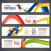 Concept of soccer player with colored geometric shapes assembled in figure football  Background of different color bands intertwined champion football game Table Matches Isolate vector Banner