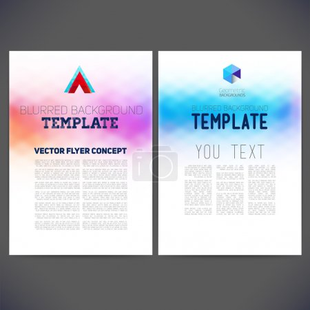 Illustration for Web sites, page, leaflet, with colorful blur backgrounds, logo and text separately. - Royalty Free Image