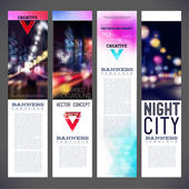 Blur banners night city vector template design