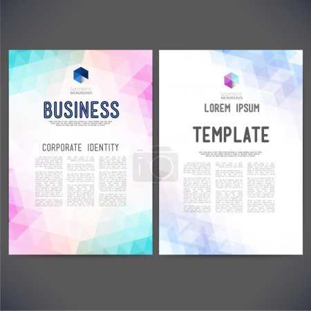 Illustration for Web sites, page, leaflet, with colorful geometric triangular backgrounds, logo and text separately. - Royalty Free Image